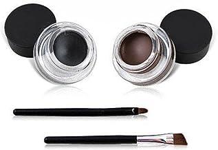 VONISA Waterproof Delineador de Ojos en Gel Eyeliner Brocha Para Maquillaje Y Plantillas Para Maquillaje Negro y Marrón Pretty Eye efecto Smudge Negro brillo Crema Cosméticos