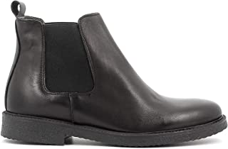 Tiziano Gabella - Stivaletti Uomo Made in Italy, Chelsea Beatles Crust Nero in Pelle