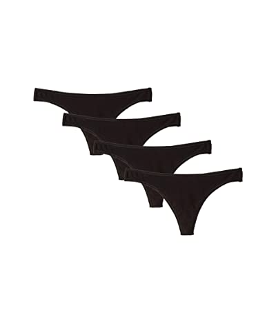 PACT 4-Pack Thong (Black) Women