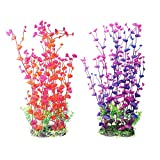 CNZ 2-Pack Aquarium Decor Fish Tank Decoration Ornament Artificial Plastic Red/Purple 16-inch Tall