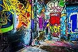 WaW 2.2x1.5m Fotografie Leinwand Hintergrund Kulisse Hip Hop Graffiti Tragbar Bunte Hintergründe für Disco 90er Jahre Throwback Party Fotobooth Requisiten
