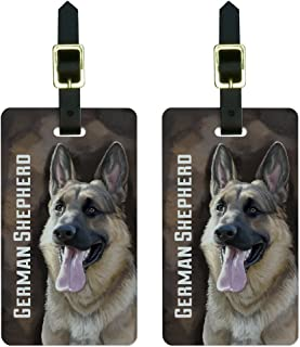 German Shepherd - Dog Pet Luggage Tags Suitcase Carry-On ID Set of 2