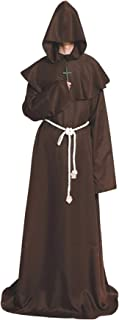 Ruimeier Halloween Costumes Medieval Priest Robes Monk Robe Hooded Cape Cloak for Wizard Sorcerer Pastor Outfit