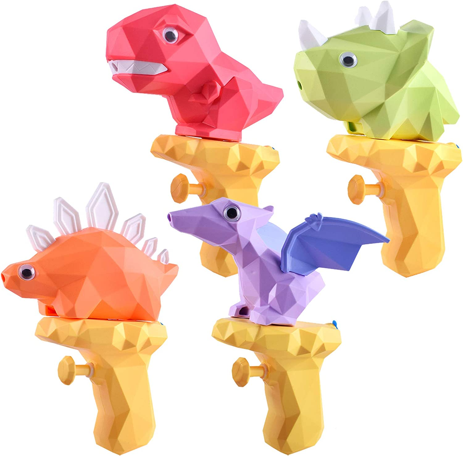 TICZLOE Water Gun, 4 Pack Water Guns for Kids Dinosaur Squirt Gun 150ml Capacity, Small Water Pistols for Boys and Girls Toddlers in Bath Pool Party Favors Summer Water Toys