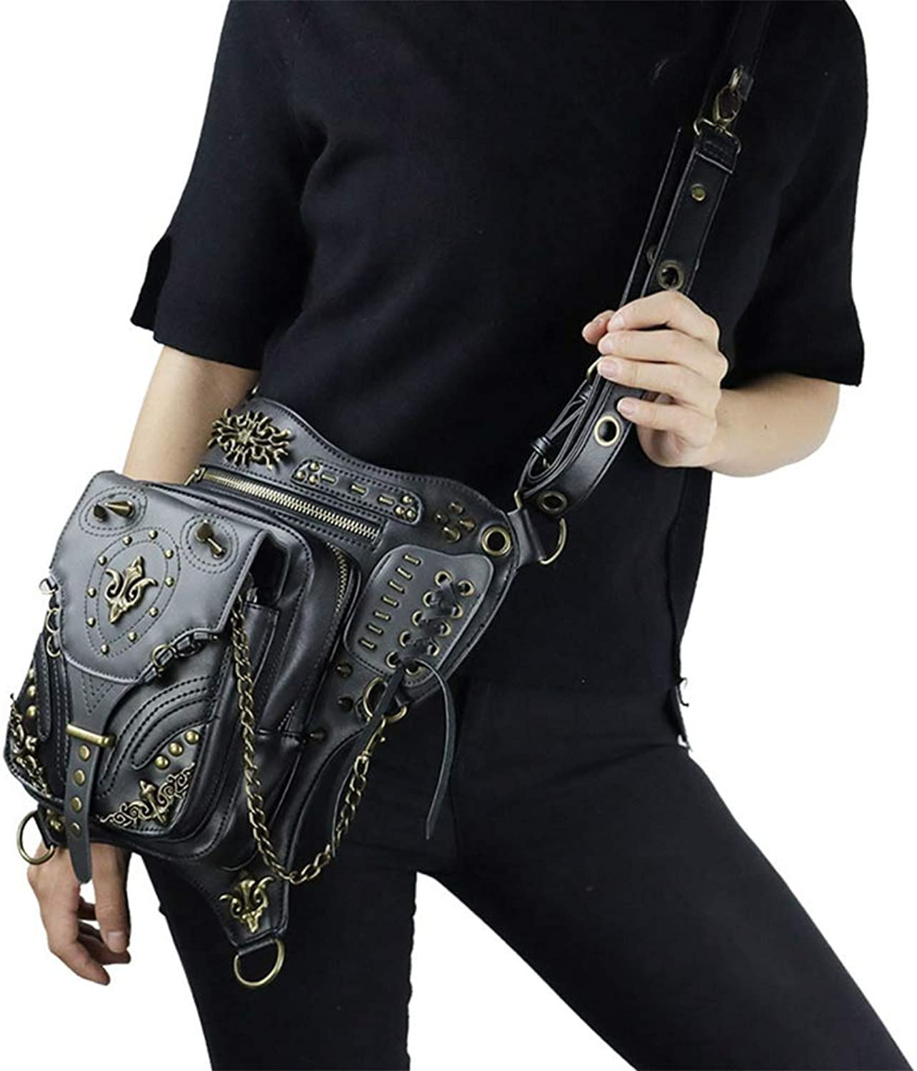 SmartHS PU Leather Steampunk Shoulder Bag Gothic Motorcycle Waist Leg Thigh Bag Black