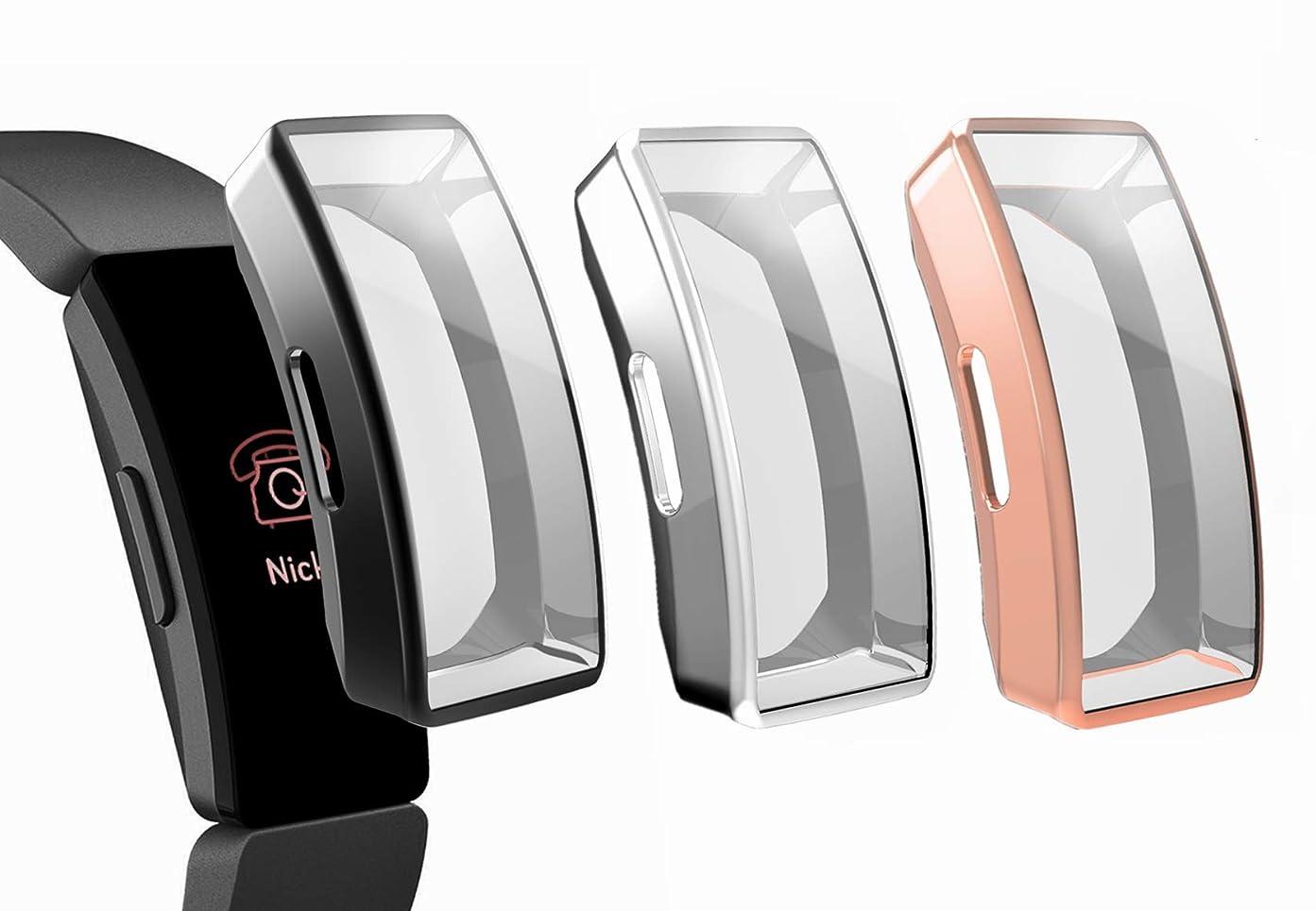 ペルー小数バーターSHEAWA Fitbit inspire ケース 3個セッ カバー 保護ケース TPUカバー アクセサリー (ブラック+シルバー+ローズゴールド)