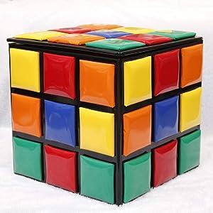 QTQZDD Heces de Almacenamiento Creativo,Madera sólida del Cubo de Rubik Zapatos niños pequeño Banco Taburete para casa Pedal café sofá Taburete de Almacenamiento-B 16.5x16.5x16.5in