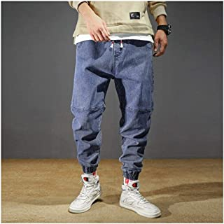 LUKEEXIN Men's Jeans Plus Size Stretchy Loose Tapered Harem Jeans Cotton Breathable Denim Pants Baggy Jogger Casual Trousers