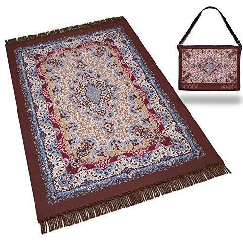 RAMODESTY Gebetsteppich Set : Hochwertiger Gebetsteppich inkl. Reisetasche - Ideale Islamische/Muslimische Geschenke - Seccade Islam (Braun)