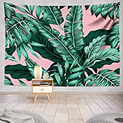 Tropical Green Leaves Tapestry