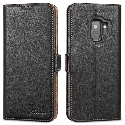 """Jenuos Cover Samsung S9, Vera Pelle Flip Libro Custodia a Portafoglio Folio Telefono con Magnetica Chiusa per Samsung Galaxy S9 5,8"""" - Nero (S9-Dk-BK)"""