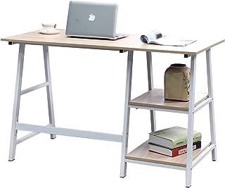 Soges 55 inches Computer Desk Trestle Desk Writing Home Office Desk Hutch Workstation with Shelf, White Oak CS-Tplus-140MO