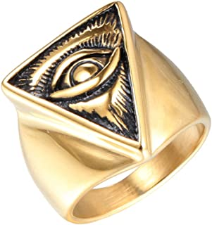 JINSHIYINYU Men's 316l Stainless Steel All Seeing Triangle Eye of Providence Ring Gold/Black/Silvery