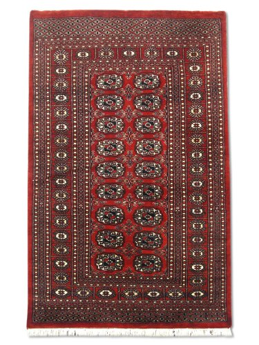 Pak Persian Rugs Tapis Noué Main Boukhara, Rouge, Laine, 91 X 143 cm