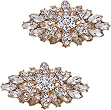 Casualfashion 2Pcs Exquisite Double Layer Three-dimensional Leaf Style Removable Wedding Party Prom High Heel Shoe Clips Decorations (Gold)