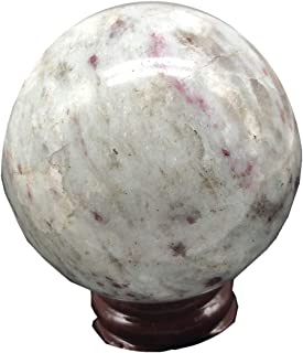 ZHQHYQHHX Energy Crystal Ball with Stand Natural Red Tourmaline Ruby Crystal Ball Decoration 50-55 Mm