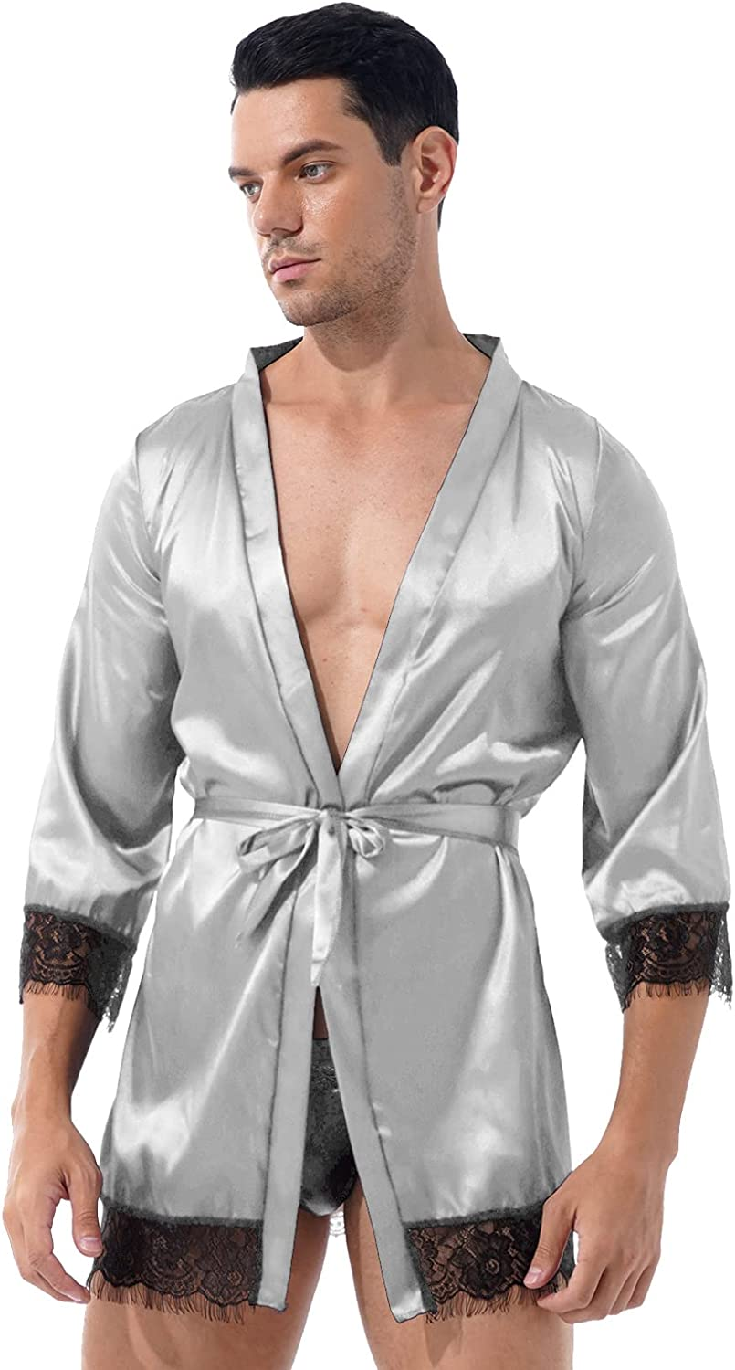 Oyolan Men's Sissy Pure Half Sleeve Open Front Short Silky Robes See Through Floral Lace Trim Satin Bathrobes