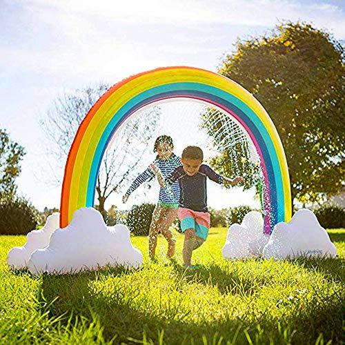 ELTON Aufblasbarer Regenbogen-Wassersprinkler, 95 '' * 67 '' * 36 '' IN Regenbogen-Planschbecken Riesenbogen-Wassersprinkler für Kinder Großer Outdoor-Wasserspielzeug Kinder Regenbogen-Sprinkler