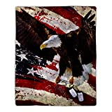"""Lavish Home Sherpa Fleece Throw American Flag Bald Eagle Print, Lightweight Hypoallergenic Bed Couch Plush Blanket for Adults and Kids, 60"""" (L) x 50"""" (W), Multicolor"""