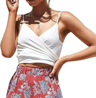 女性のセクシーなVネックスパゲッティストラップキャミタンクトップネクタイフロント/バックホルターキャミソールシャツ