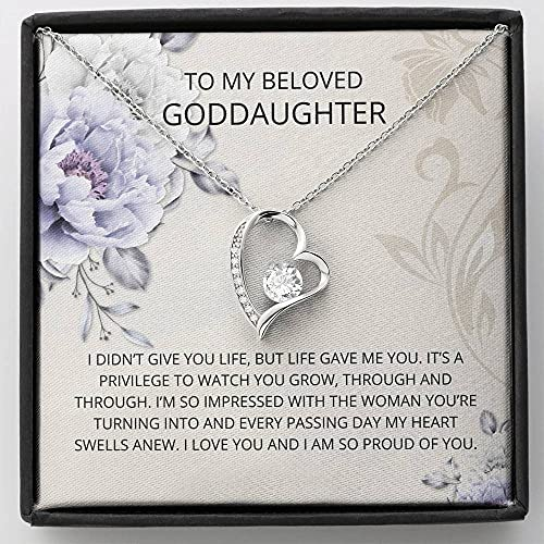 Personalized Necklace Gift, Goddaughter Gifts from Godmother- Goddaughter Baptism, Goddaughter Forever Love Necklace, First Communion, Girl Birthday, Christening, With Message Card & Box V18