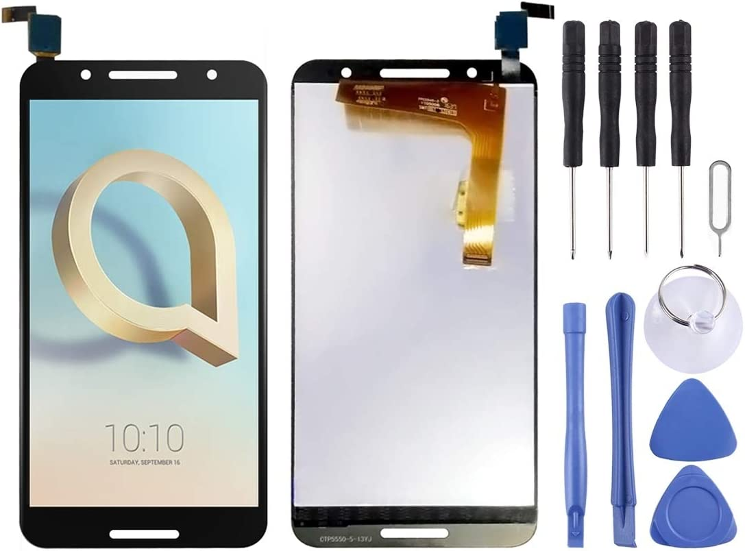 Black Color : Black 5090 5090A HTTX TENS AYSMG LCD Screen and Digitizer Full Assembly for Alcatel A7 5090Y