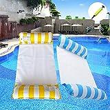 Premium Swimming Pool Float Water Hammock 2-Pack (Blue & Yellow) Multi-Purpose Portable Inflatable Hammock Floating Hammock for Pool Swimming with Air Pump