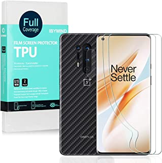 Ibywind Clear TPU Film Screen Protector for OnePlus 8 Pro,[Pack of 2],[Camera Lens Protector][Back Carbon Fiber Film Protector][in-Display Fingerprint Support][Bubble Free]
