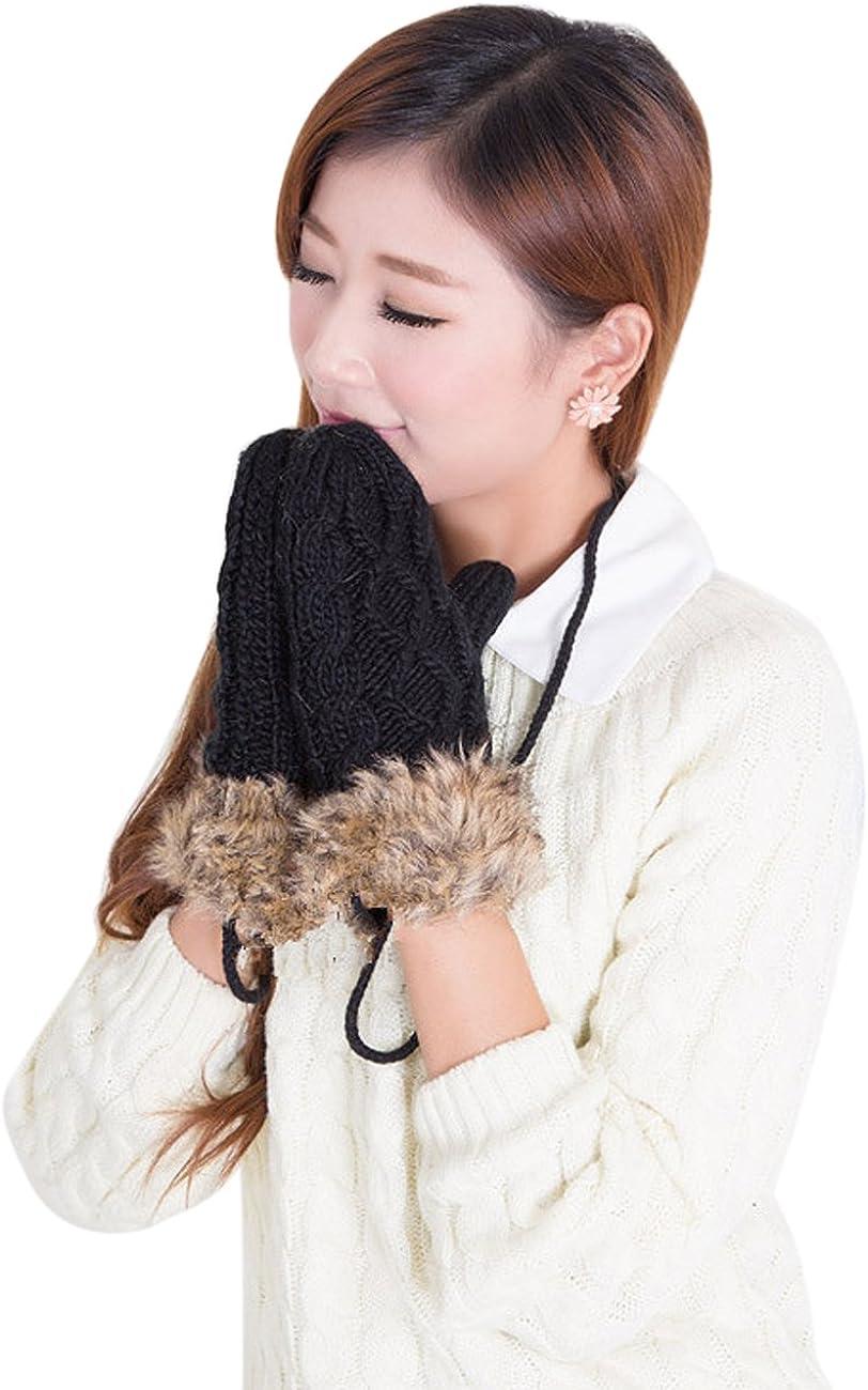 Adorable Women Knitted Wool Glove Winter Warm Neck Hung Mittens Fullfinger Gloves