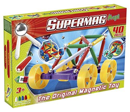 Supermag Toys- Maxi Wheels 40 Gioco di Costruzione Magnetico, 105