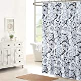 DS CURTAIN Black and White Rose Fabric Printed Floral Waterproof Polyester Shower Curtain for Bathroom,72' W x 72' H
