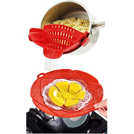 ANNIUP Silicone Boil Over Safeguard Spill Stopper Lid Cover,Multifunction Silicone Flower Cookware Kitchen Cooking Lid and Cover Kitchen Tool-Suitable for most pots-Gray