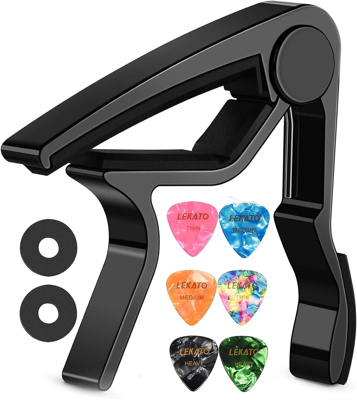 Lekato LGC-1 - Cejilla y 3 púas para guitarra acústica y eléctrica, ukelelele, mandolina y banjo, color negro