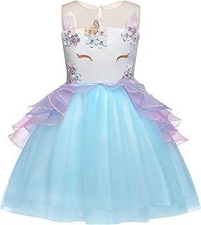 208a9c18663 Rizoo Little Girls Unicorn Summer Sleeveless Long Dresses with Floral  Appliques Birthday Evening Tutu Dress