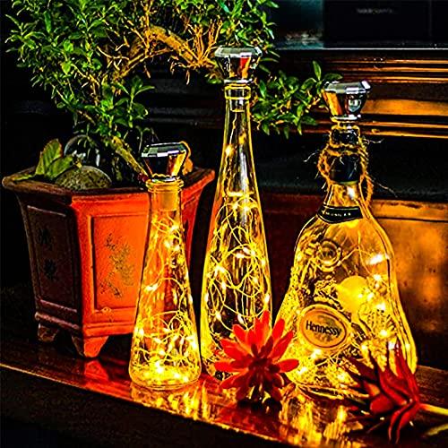 SNAWEN Paquete de 8 Luces solares de Corcho de Vino 2M 20 LED Lámpara de decoración de Fiesta de jardín de Guirnalda de Alambre de Cobre,8pcs Warm White