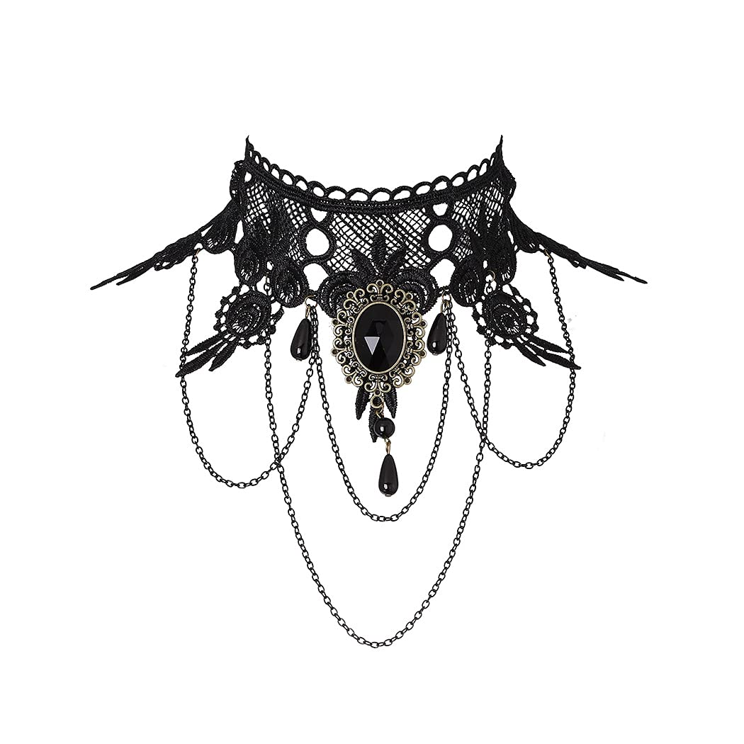 Bohend Halloween Goth Choker Necklaces Black Lace Beads Choker Chain Necklaces Gothic Jewelry Accessories for Women and Girls