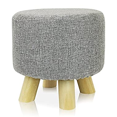 DL furniture - Round Ottoman Foot Stool, 4 leg Stands, Round Shape | Linen Fabric, Gray Cover