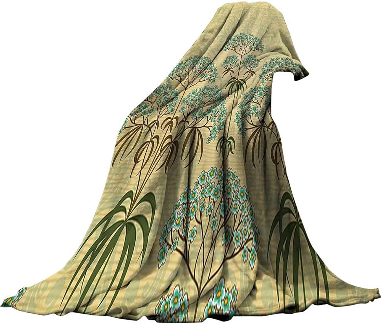 Soft Travel Blanket(90 x70 ) Summer Quilt Comforter Traditional House Decor Victorian Floral with Double Exposure Royal Background Home Decor Mustard bluee.