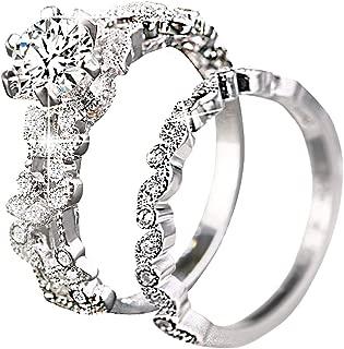 Unique Leaf Design 925 Plating Silver White Sapphire Diamond Wedding Engagement Ring Set