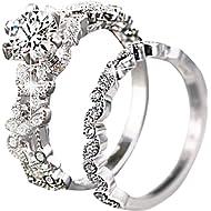 sandywident Unique Leaf Design... sandywident Unique Leaf Design 925 Plating Silver White Sapphire Diamond Wedding Engagement Ring Set