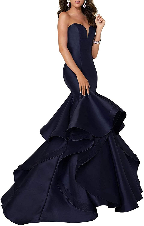 HIDRESS Women's Mermaid Off Shoulder Evening Party Dresses Strapless Wedding Gowns BQ084