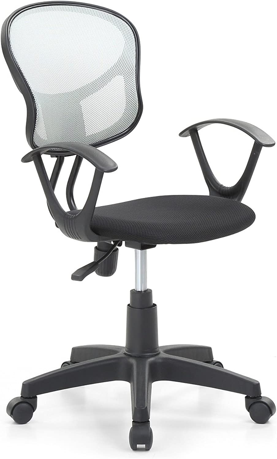 Hodedah Mesh Office Chair with Arms, Adjustable Height, and Swivel Functionality, Grey