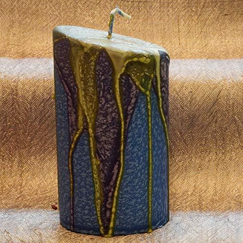 Ovale Kerze, blau mit bunter kristalliner Glasur, Gestaltet in Waldviertler Handarbeit, Höhe 12 cm, Geburtstagsgeschenk, Geschenk zum Vatertag, Abschiedsgeschenk, Deko Idee