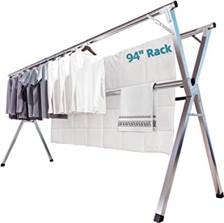 布団干し 物干し 無組立 ステンレス 伸縮タイプ 折りたためる 多機能 大容量ベランダ 室内屋外物干し 洗濯物干し 幅140~240㎝ 着地x型