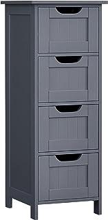 VASAGLE Meuble de Salle de Bain sur Pieds, Placard de Rangement avec 4 tiroirs, Commode, 30 x 30 x 82 cm, pour Salon, Cuis...