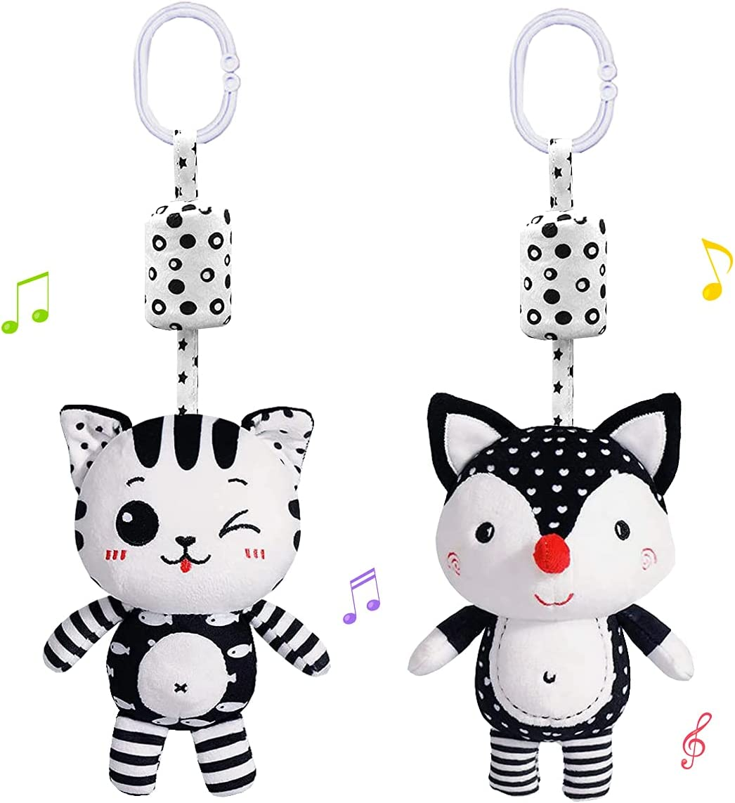 willway 2 Packs Baby Rattles Wind Chime Toys, Infant Stroller Toys Car Seat Toy 0-36 Months, Fox and Cat Clip Hanging Plush Squeeze Toys