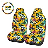 TOYOUN Front Car Seat Covers Set with 15 Inch Steering Wheel Cover 2 Seat Belt Strap Covers Pads Hawaiian Style Tropical Leaves Print Cotton Bucket Seat Covers Car Accessories for Women, Yellow