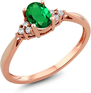 14K Rose Gold Green Nano-Emerald and Diamond Women's Ring 0.46 cttw (Available 5,6,7,8,9)
