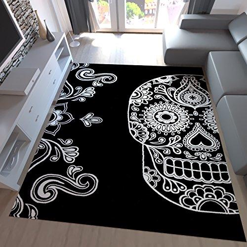Designer Teppich Schwarz Weiß Kunstvoll Modern Totenkopf Motiv, Maße:80x150 cm