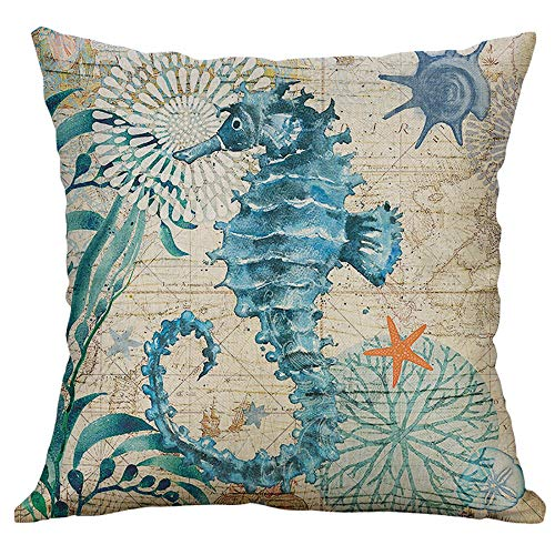 Dosoop Marine Life Coral Sea Turtle Seahorse Whale Octopus Cushion Cover Pillow Cover Cushion Case Cotton Linen Square Outdoor Cushion Cover Pillow Case Pillowcase for Couch Sofa Bed Car 40x40cm